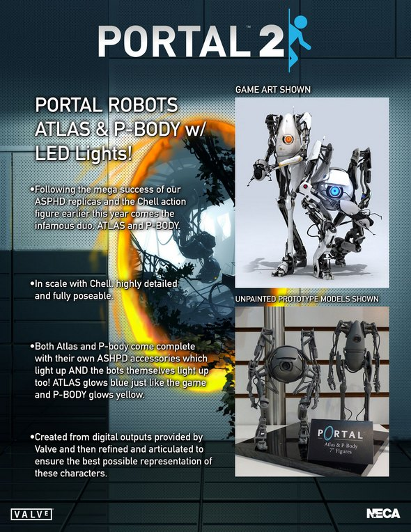 Portal 2 Atlas & Pbody action figures